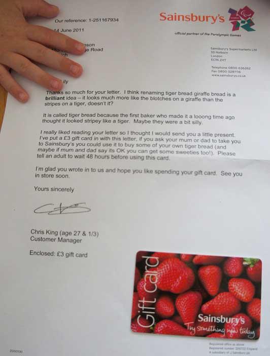 Sainsbury's Customer Feedback Response